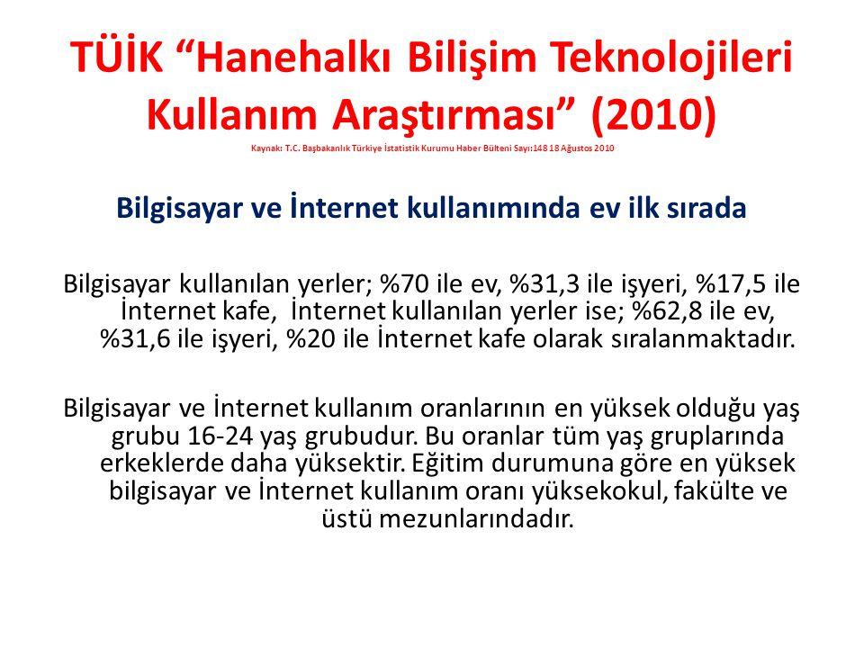 """TÜİK """"Hanehalkı Bilişim Teknolojileri Kullanım Araştırması"""" (2010) Kaynak: T.C. Başbakanlık Türkiye İstatistik Kurumu Haber Bülteni Sayı:148 18 Ağusto"""