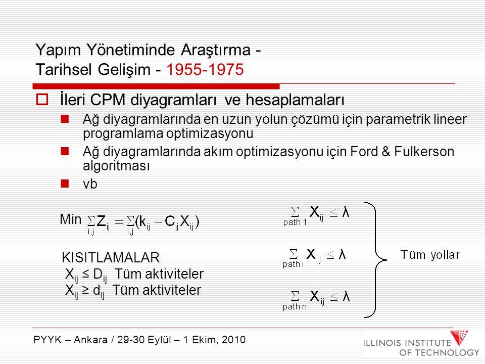  İleri CPM diyagramları ve hesaplamaları Ağ diyagramlarında en uzun yolun çözümü için parametrik lineer programlama optimizasyonu Ağ diyagramlarında