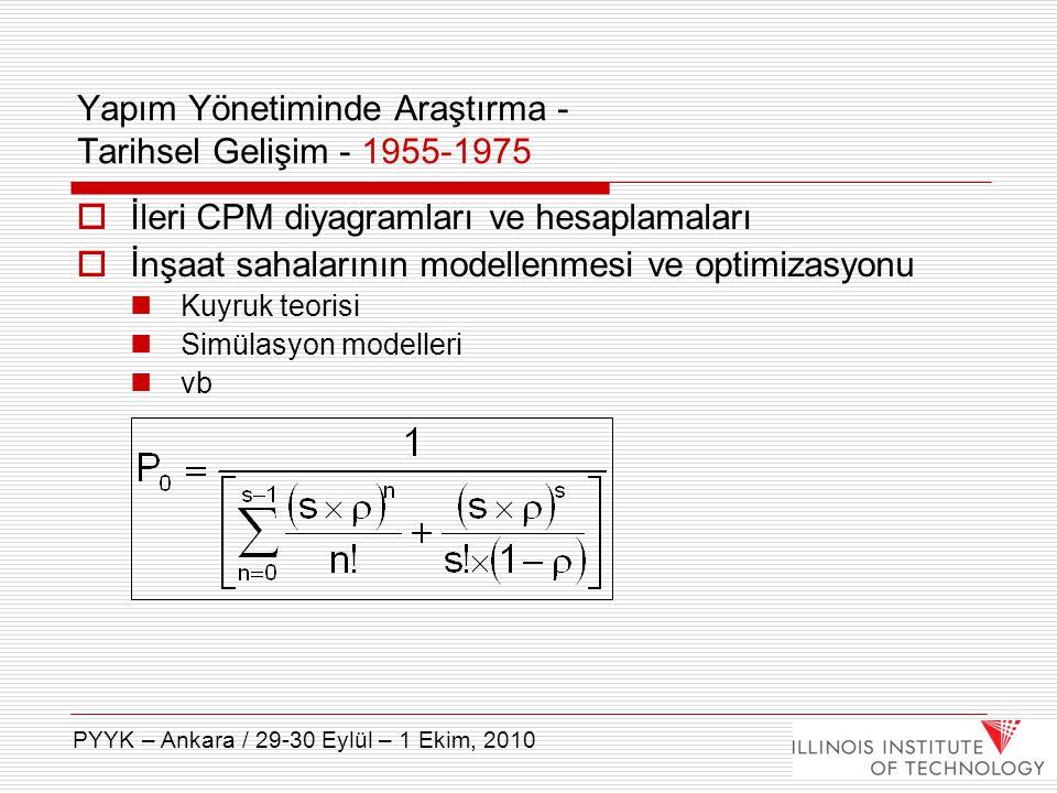  İleri CPM diyagramları ve hesaplamaları  İnşaat sahalarının modellenmesi ve optimizasyonu Kuyruk teorisi Simülasyon modelleri vb Yapım Yönetiminde
