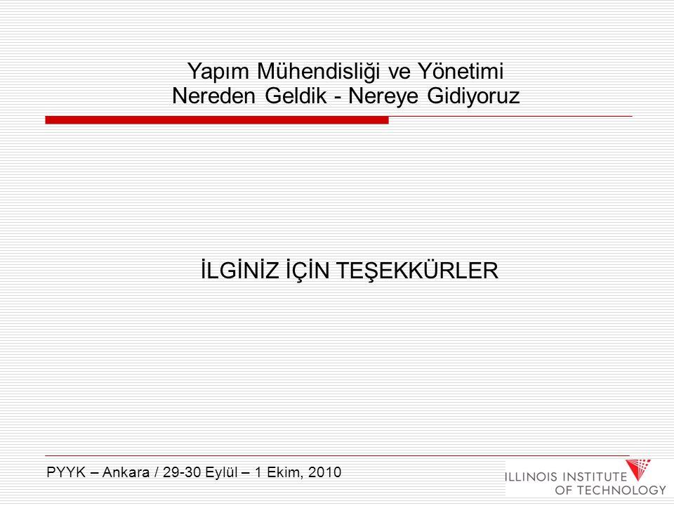 İLGİNİZ İÇİN TEŞEKKÜRLER Yapım Mühendisliği ve Yönetimi Nereden Geldik - Nereye Gidiyoruz PYYK – Ankara / 29-30 Eylül – 1 Ekim, 2010