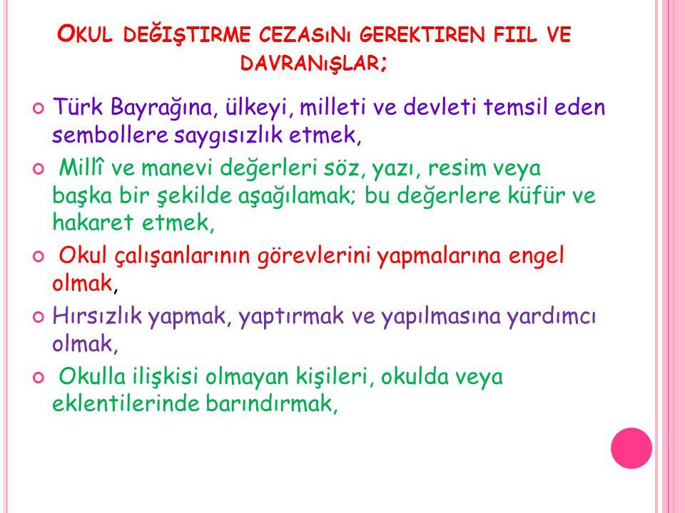 O KUL DEĞIŞTIRME CEZASıNı GEREKTIREN FIIL VE DAVRANıŞLAR ; Türk Bayrağına, ülkeyi, milleti ve devleti temsil eden sembollere saygısızlık etmek, Millî
