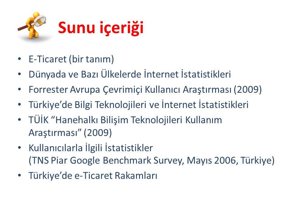 Sunu içeriği E-Ticaret (bir tanım) Dünyada ve Bazı Ülkelerde İnternet İstatistikleri Forrester Avrupa Çevrimiçi Kullanıcı Araştırması (2009) Türkiye'de Bilgi Teknolojileri ve İnternet İstatistikleri TÜİK Hanehalkı Bilişim Teknolojileri Kullanım Araştırması (2009) Kullanıcılarla İlgili İstatistikler (TNS Piar Google Benchmark Survey, Mayıs 2006, Türkiye) Türkiye'de e-Ticaret Rakamları