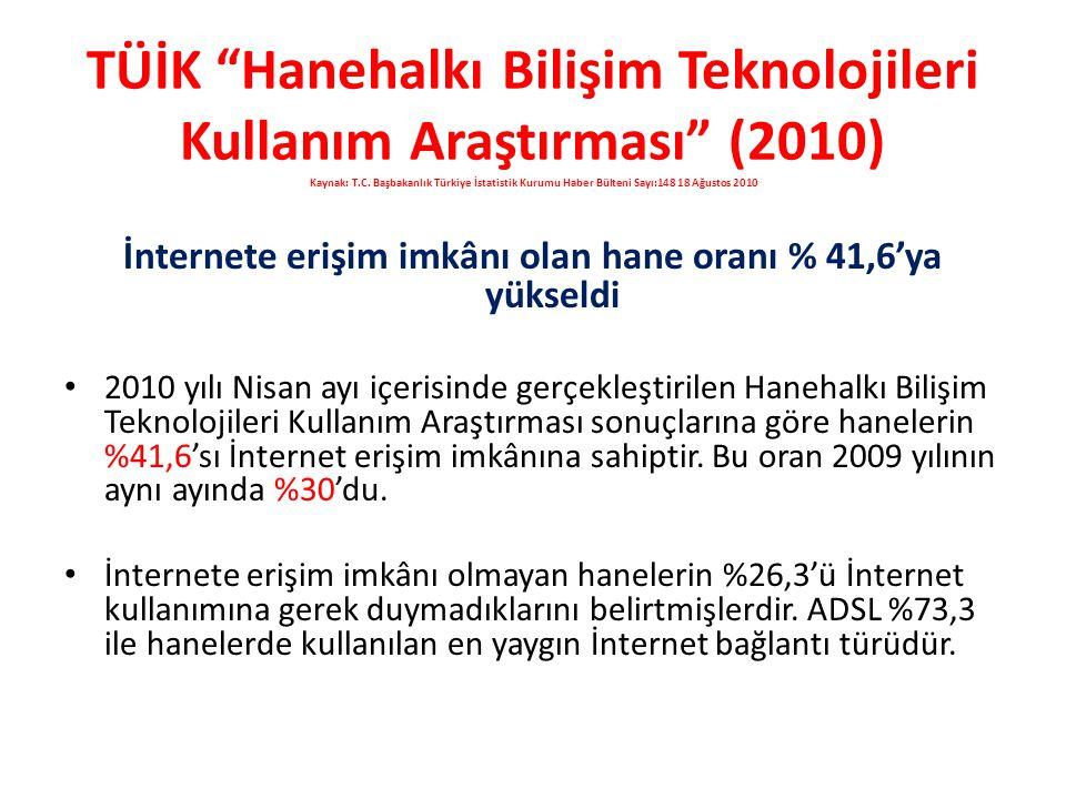 TÜİK Hanehalkı Bilişim Teknolojileri Kullanım Araştırması (2010) Kaynak: T.C.