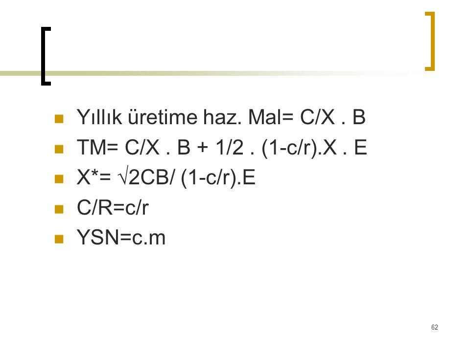 Yıllık üretime haz. Mal= C/X. B TM= C/X. B + 1/2. (1-c/r).X. E X*= √2CB/ (1-c/r).E C/R=c/r YSN=c.m 62