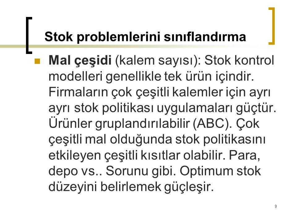 Stok problemlerini sınıflandırma Mal çeşidi (kalem sayısı): Stok kontrol modelleri genellikle tek ürün içindir. Firmaların çok çeşitli kalemler için a