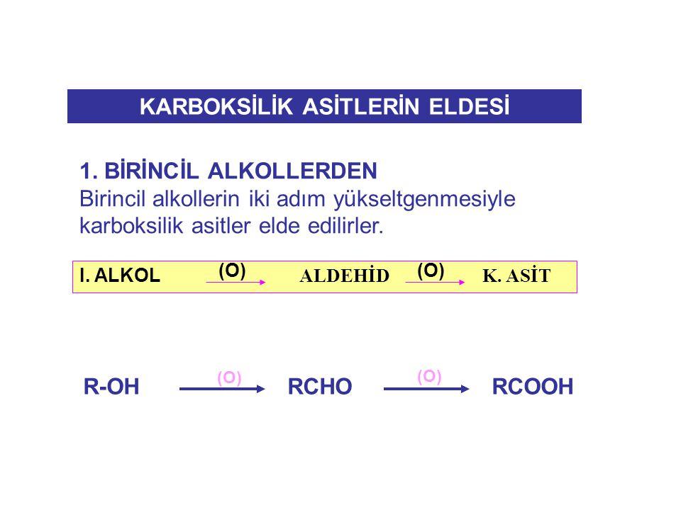 1. BİRİNCİL ALKOLLERDEN Birincil alkollerin iki adım yükseltgenmesiyle karboksilik asitler elde edilirler. I. ALKOL ALDEHİD K. ASİT (O) KARBOKSİLİK AS