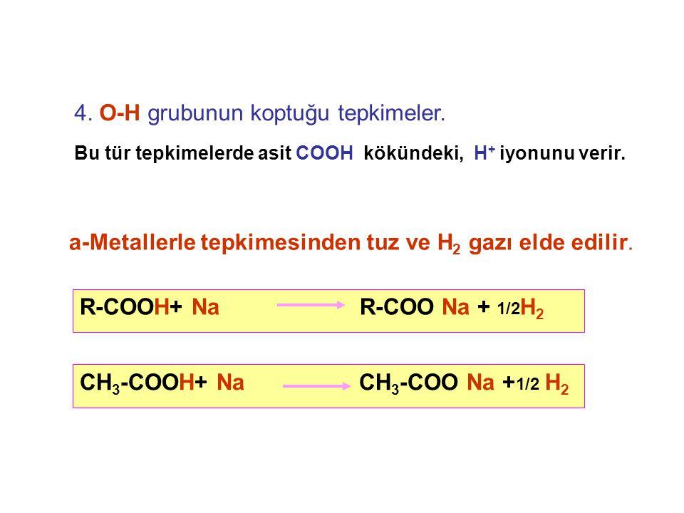4.O-H grubunun koptuğu tepkimeler. a-Metallerle tepkimesinden tuz ve H 2 gazı elde edilir.