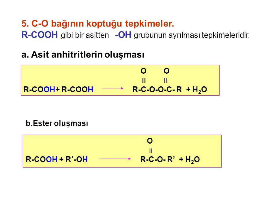 5.C-O bağının koptuğu tepkimeler. R-COOH gibi bir asitten -OH grubunun ayrılması tepkimeleridir.