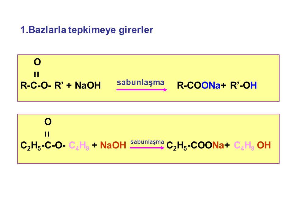 1.Bazlarla tepkimeye girerler O ıı R-C-O- R' + NaOH R-COONa+ R'-OH sabunlaşma O ıı C 2 H 5 -C-O- C 4 H 9 + NaOH C 2 H 5 -COONa+ C 4 H 9 OH sabunlaşma