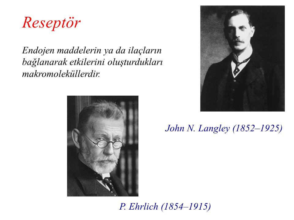 Endojen maddelerin ya da ilaçların bağlanarak etkilerini oluşturdukları makromoleküllerdir. Reseptör John N. Langley (1852–1925) P. Ehrlich (1854–1915