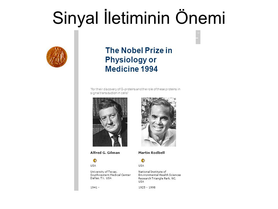 Sinyal İletiminin Önemi The Nobel Prize in Physiology or Medicine 1994