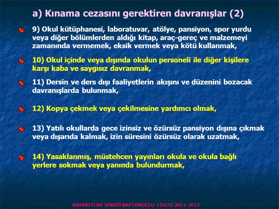 MADDE 12 – (1) Cezayı gerektiren davranışlar şunlardır: a) Kınama cezasını gerektiren davranışlar (1) 1) Okulu, okulun eşyasını ve çevresini kirletmek