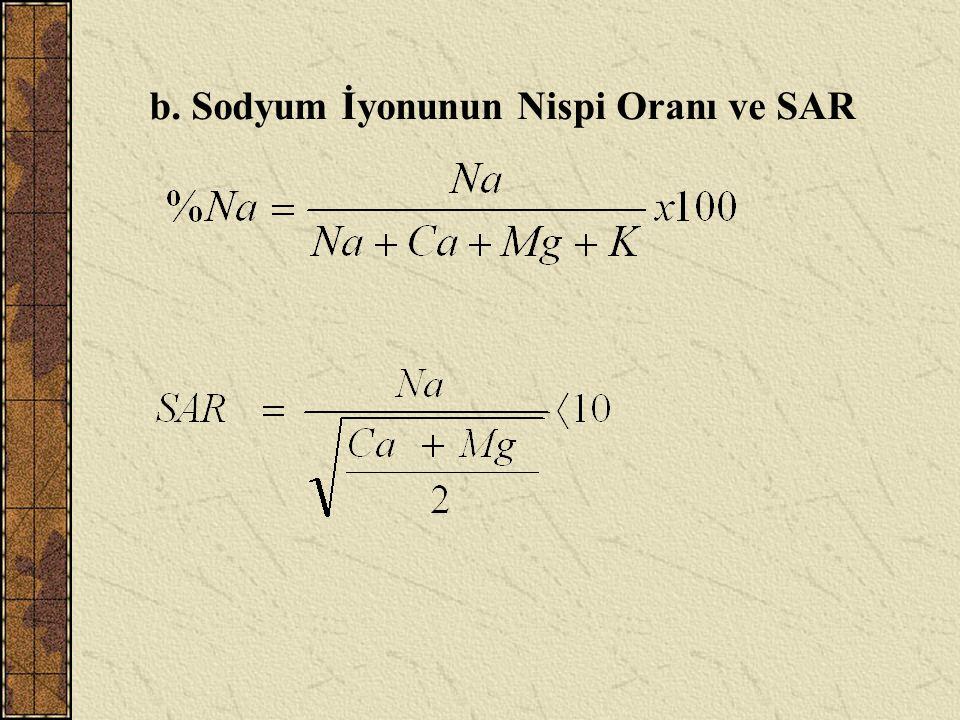b. Sodyum İyonunun Nispi Oranı ve SAR
