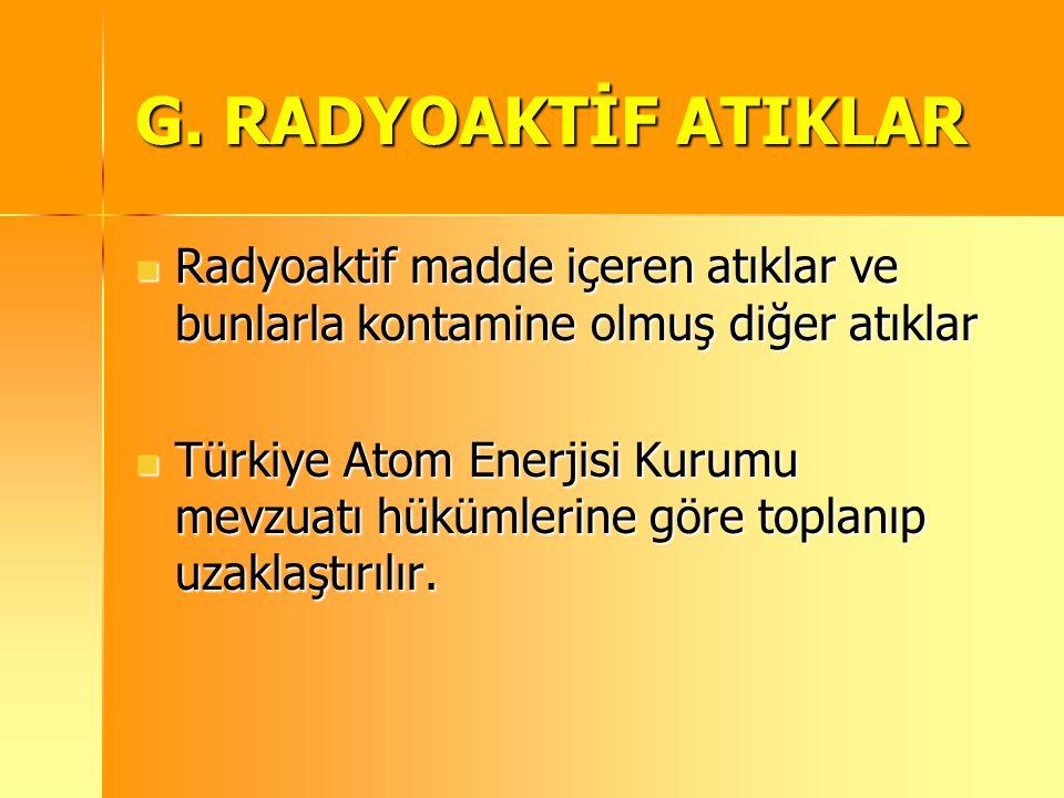 G. RADYOAKTİF ATIKLAR Radyoaktif madde içeren atıklar ve bunlarla kontamine olmuş diğer atıklar Radyoaktif madde içeren atıklar ve bunlarla kontamine