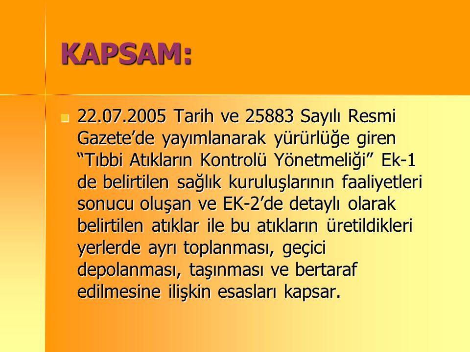 """KAPSAM: 22.07.2005 Tarih ve 25883 Sayılı Resmi Gazete'de yayımlanarak yürürlüğe giren """"Tıbbi Atıkların Kontrolü Yönetmeliği"""" Ek-1 de belirtilen sağlık"""