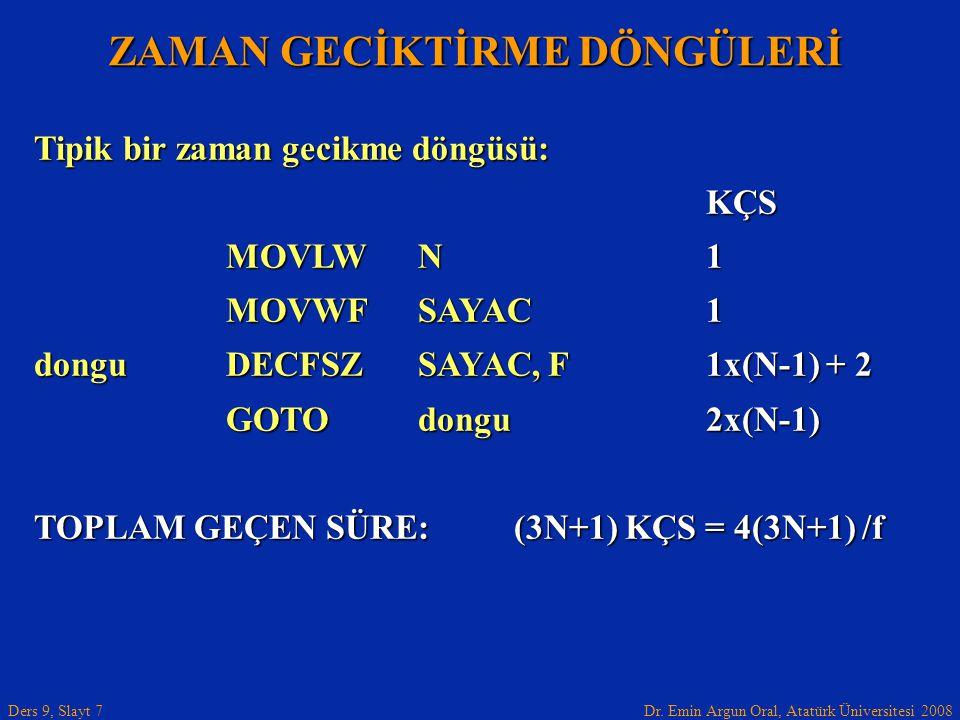 Dr. Emin Argun Oral, Atatürk Üniversitesi 2008 Ders 9, Slayt 7 ZAMAN GECİKTİRME DÖNGÜLERİ Tipik bir zaman gecikme döngüsü: KÇS MOVLWN1 MOVWFSAYAC1 don