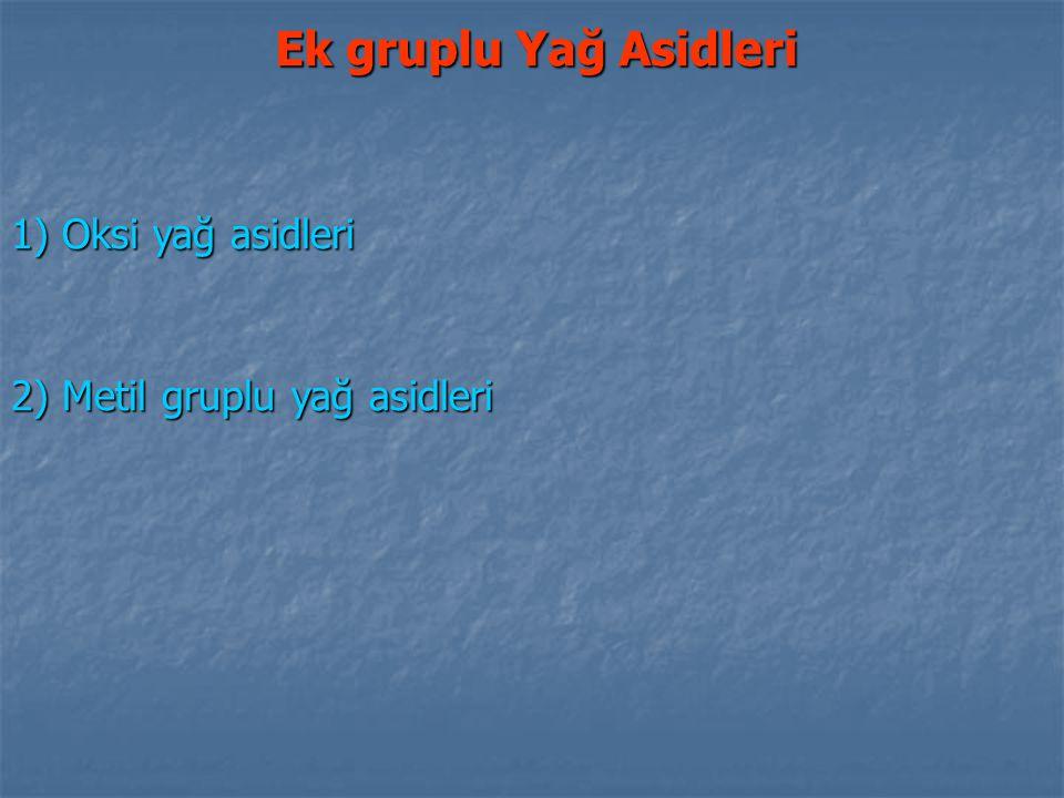1) Oksi yağ asidleri 2) Metil gruplu yağ asidleri Ek gruplu Yağ Asidleri