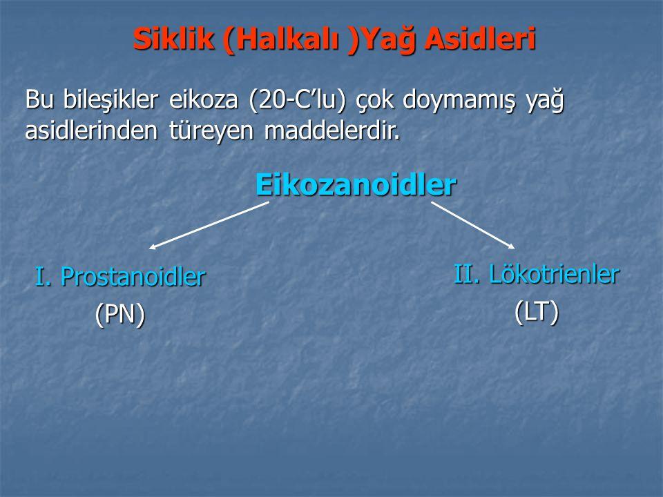 Bu bileşikler eikoza (20-C'lu) çok doymamış yağ asidlerinden türeyen maddelerdir. Siklik (Halkalı )Yağ Asidleri Eikozanoidler I. Prostanoidler (PN) II