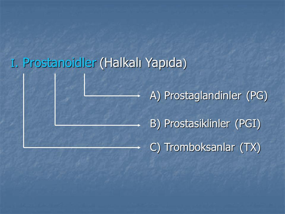 I. Prostanoidler (Halkalı Yapıda ) A) Prostaglandinler (PG) B) Prostasiklinler (PGI) C) Tromboksanlar (TX)