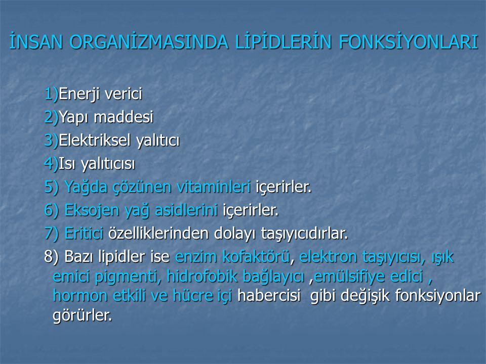 LİPİDLERİN SINIFLANDIRILMASI 1) Yağ asidleri ve türevleri 2) Gliserol esterleri a) Acil gliseroller b) Fosfogliseridler 3) Sfingolipidler a) Sfingomiyelinler b) Glikosfingolipidler 4) İzopren türevi lipidler a) Poliprenoidler b) Steroidler 5) Lipoproteinler