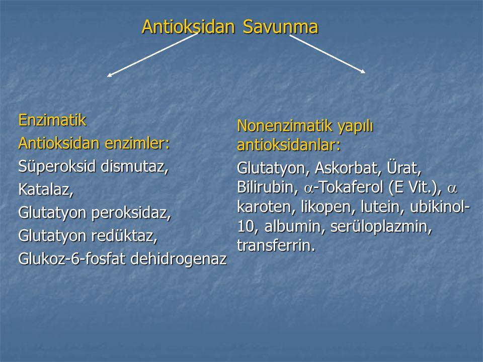 Antioksidan Savunma Enzimatik Antioksidan enzimler: Süperoksid dismutaz, Katalaz, Glutatyon peroksidaz, Glutatyon redüktaz, Glukoz-6-fosfat dehidrogen
