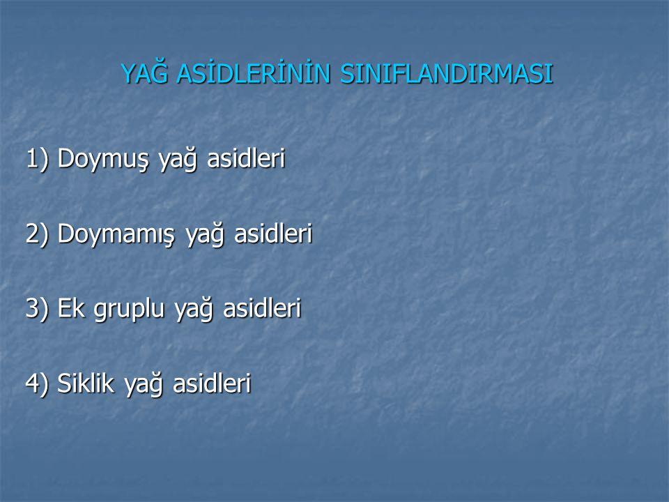 YAĞ ASİDLERİNİN SINIFLANDIRMASI 1) Doymuş yağ asidleri 2) Doymamış yağ asidleri 3) Ek gruplu yağ asidleri 4) Siklik yağ asidleri