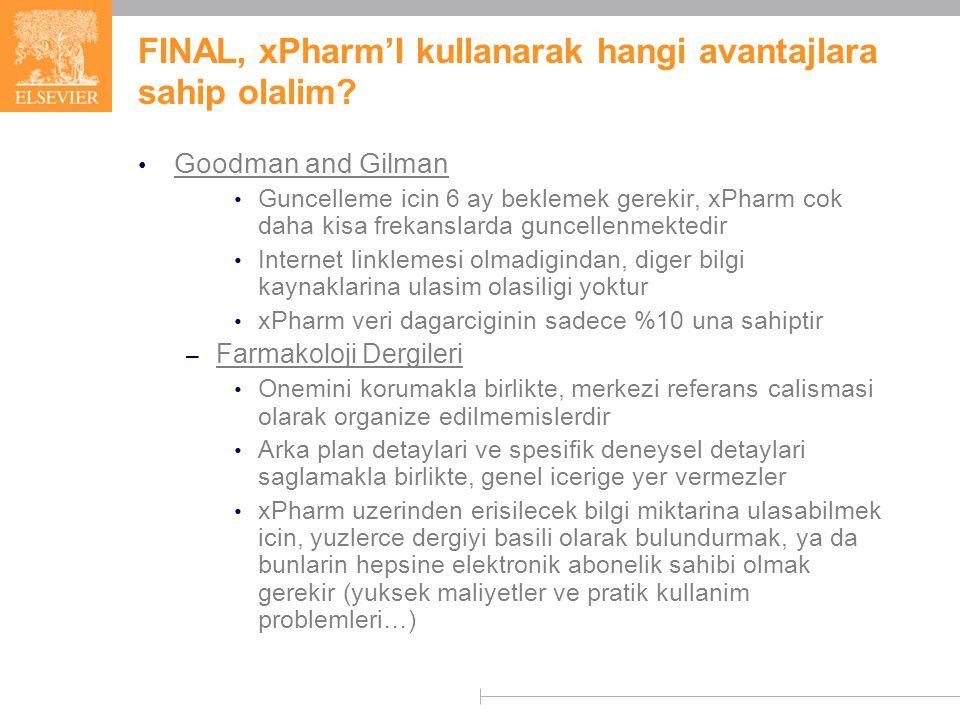 FINAL, xPharm'I kullanarak hangi avantajlara sahip olalim.