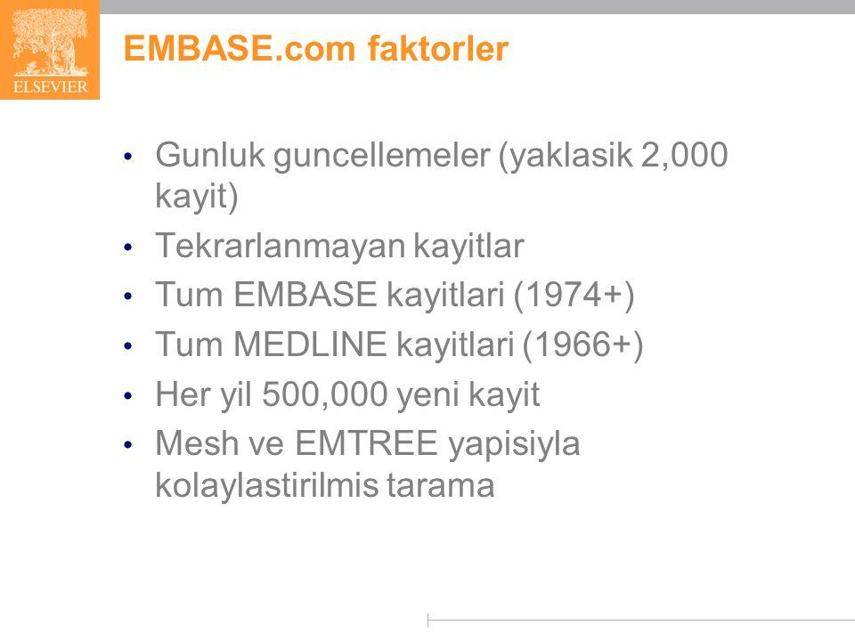 EMBASE.com faktorler Gunluk guncellemeler (yaklasik 2,000 kayit) Tekrarlanmayan kayitlar Tum EMBASE kayitlari (1974+) Tum MEDLINE kayitlari (1966+) Her yil 500,000 yeni kayit Mesh ve EMTREE yapisiyla kolaylastirilmis tarama