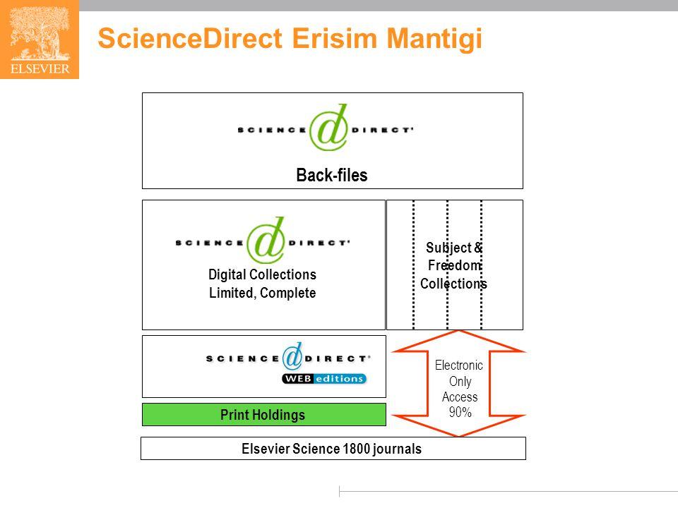 SCIENCE DIRECT ScienceDirect 8 yil once sunulmus tam metinli veri tabanidir; icinde 1800 den fazla elektronik dergi ve elektronik kitap kaynagi bulunmaktadir.