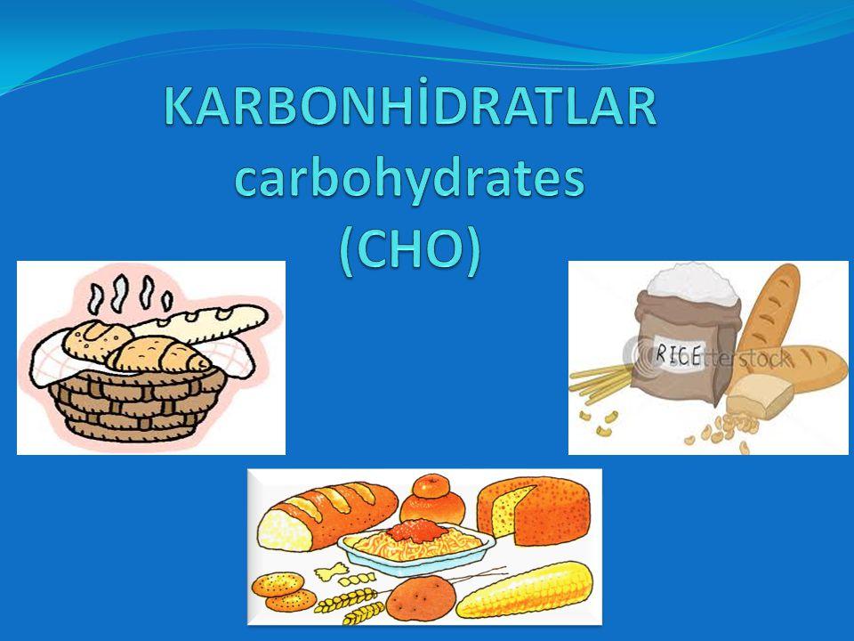 CHO %55 Lipid %30 Protein %15 Karbonhidratların alımı  Günlük enerji ihtiyacının yaklaşık % 55 si karbonhidratlarla karşılanır.