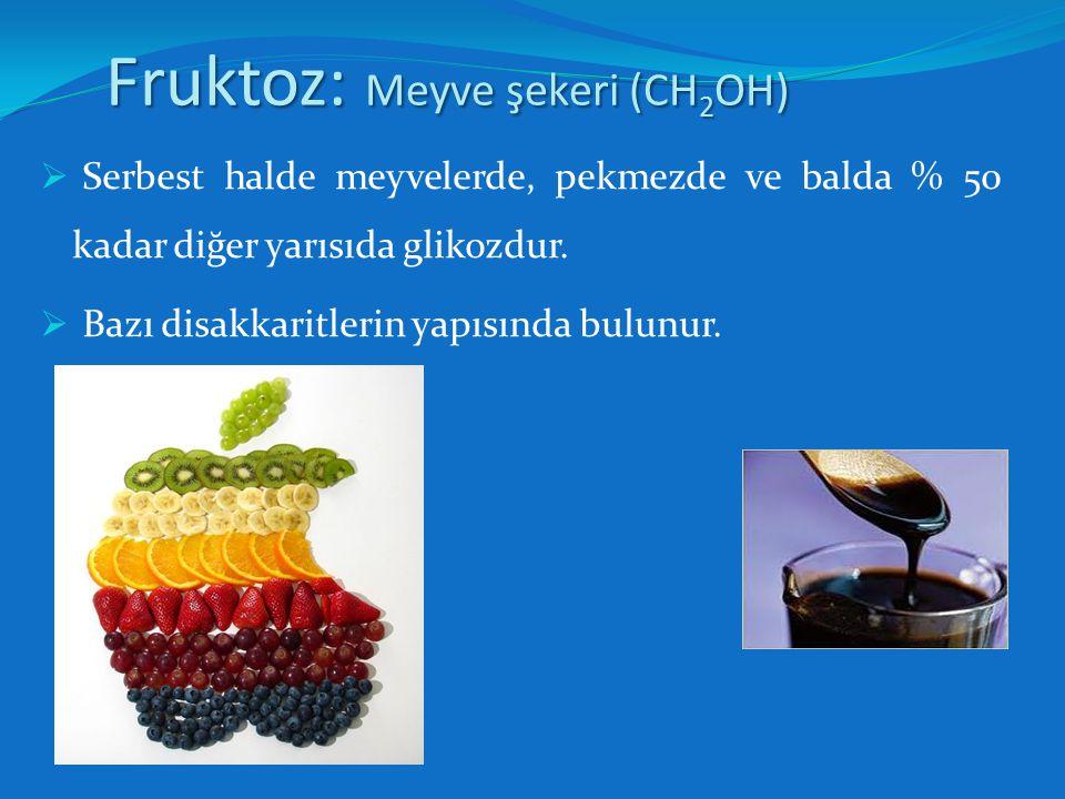 Galaktoz: Süt Şekeri (CH 2 OH)  Glikoza bağlı bir halde süt şekeri denen disakkarit içinde bulunur.