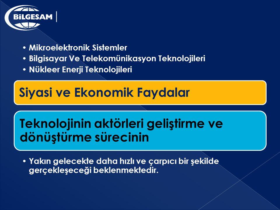 Siyasi ve Ekonomik Faydalar Mikroelektronik Sistemler Bilgisayar Ve Telekomünikasyon Teknolojileri Nükleer Enerji Teknolojileri Teknolojinin aktörleri