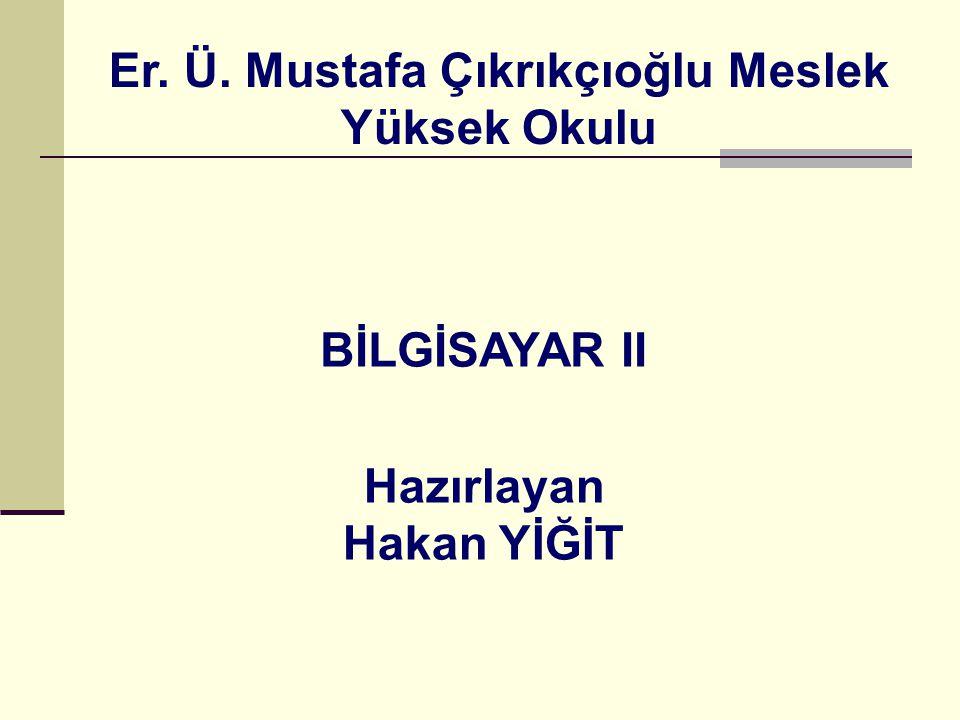 BİLGİSAYAR II Er. Ü. Mustafa Çıkrıkçıoğlu Meslek Yüksek Okulu Hazırlayan Hakan YİĞİT