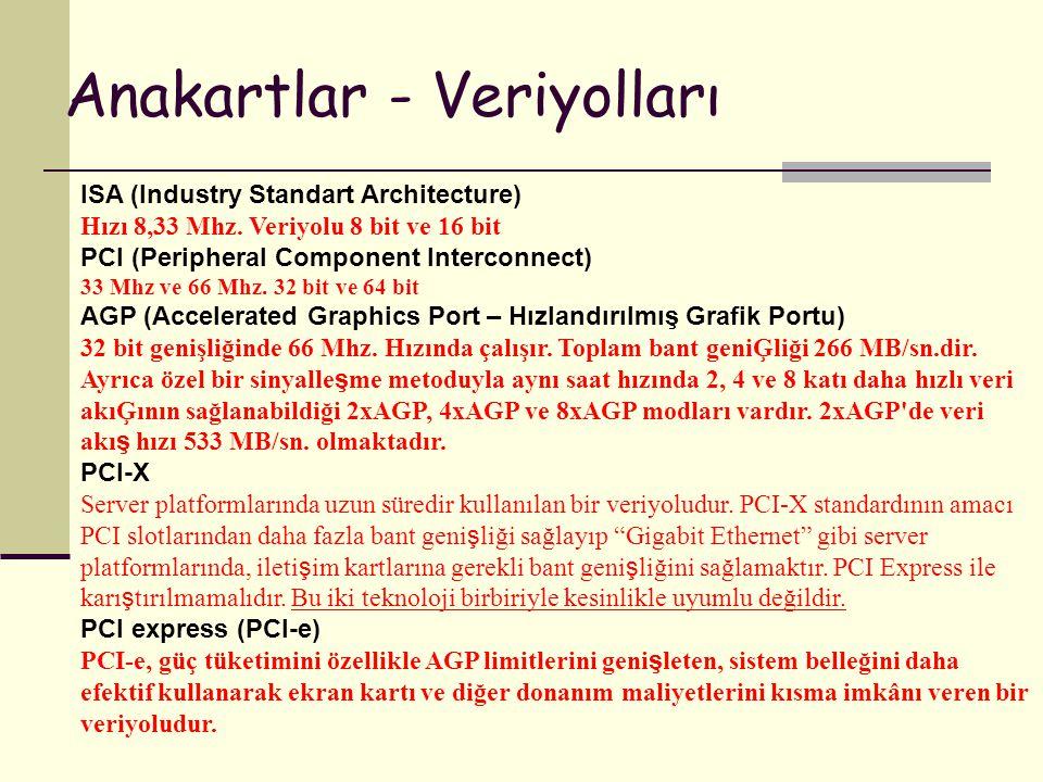Anakartlar - Veriyolları ISA (Industry Standart Architecture) Hızı 8,33 Mhz. Veriyolu 8 bit ve 16 bit PCI (Peripheral Component Interconnect) 33 Mhz v