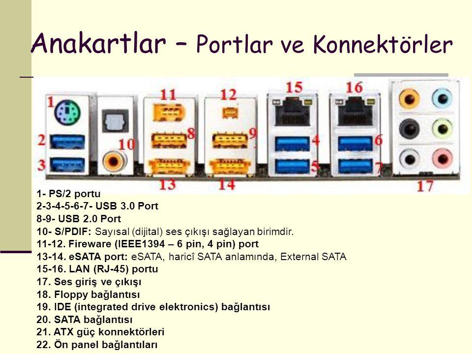 Anakartlar – Portlar ve Konnektörler 1- PS/2 portu 2-3-4-5-6-7- USB 3.0 Port 8-9- USB 2.0 Port 10- S/PDIF: Sayısal (dijital) ses çıkışı sağlayan birim