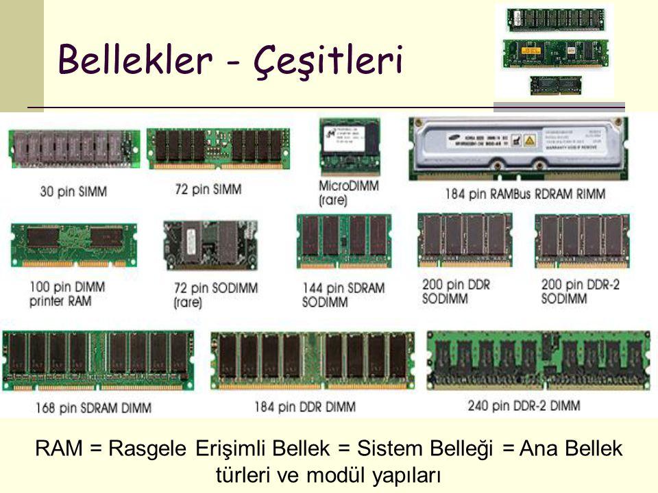 Bellekler - Çeşitleri RAM = Rasgele Erişimli Bellek = Sistem Belleği = Ana Bellek türleri ve modül yapıları