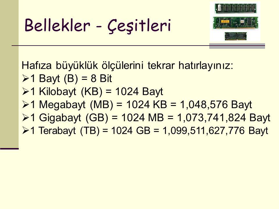 Bellekler - Çeşitleri Hafıza büyüklük ölçülerini tekrar hatırlayınız:  1 Bayt (B) = 8 Bit  1 Kilobayt (KB) = 1024 Bayt  1 Megabayt (MB) = 1024 KB =