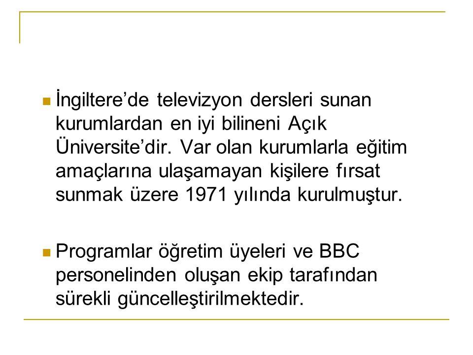 İngiltere'de televizyon dersleri sunan kurumlardan en iyi bilineni Açık Üniversite'dir.