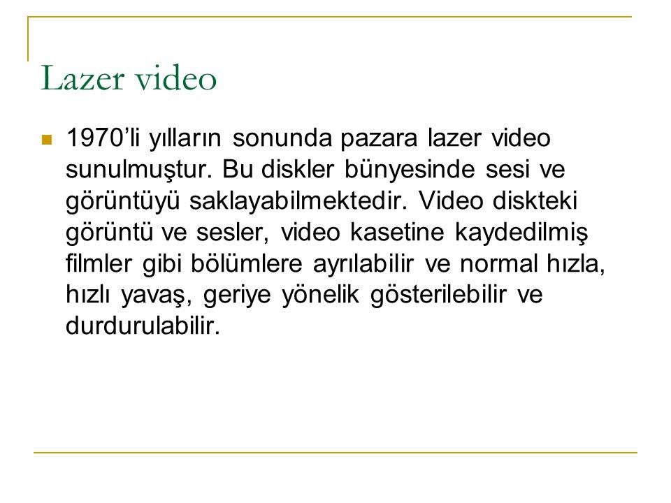 Lazer video 1970'li yılların sonunda pazara lazer video sunulmuştur.