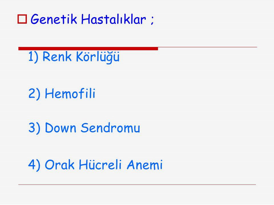  Genetik Hastalıklar ; 1) Renk Körlüğü 2) Hemofili 3) Down Sendromu 4) Orak Hücreli Anemi