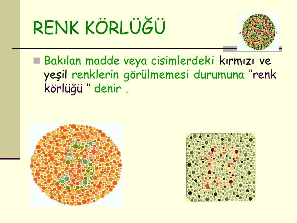 RENK KÖRLÜĞÜ Bakılan madde veya cisimlerdeki kırmızı ve yeşil renklerin görülmemesi durumuna ''renk körlüğü '' denir.