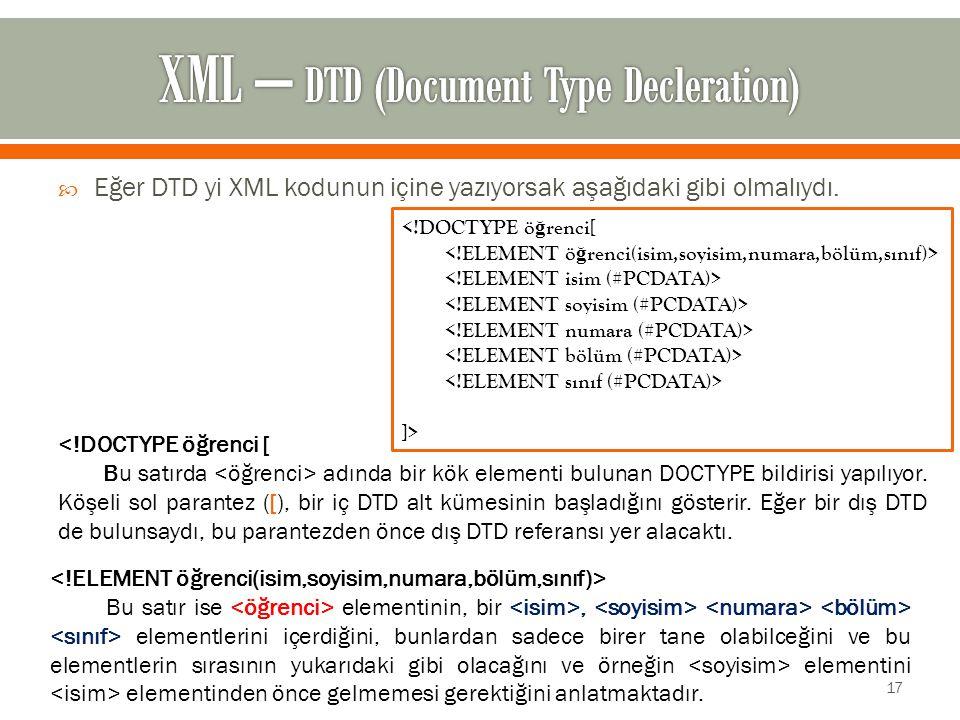  Eğer DTD yi XML kodunun içine yazıyorsak aşağıdaki gibi olmalıydı.