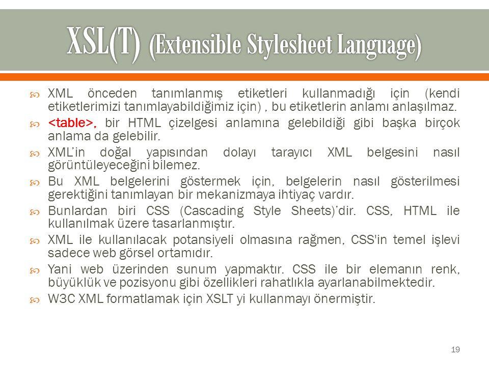  XML önceden tanımlanmış etiketleri kullanmadığı için (kendi etiketlerimizi tanımlayabildiğimiz için), bu etiketlerin anlamı anlaşılmaz.
