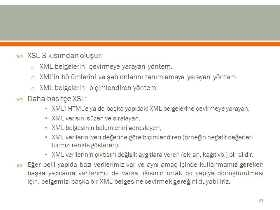  XSL 3 kısımdan oluşur: o XML belgelerini çevirmeye yarayan yöntem.