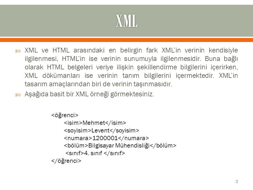  XML ve HTML arasındaki en belirgin fark XML'in verinin kendisiyle ilgilenmesi, HTML'in ise verinin sunumuyla ilgilenmesidir.