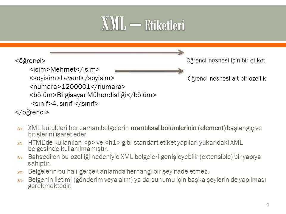  XML kütükleri her zaman belgelerin mantıksal bölümlerinin (element) başlangıç ve bitişlerini işaret eder.
