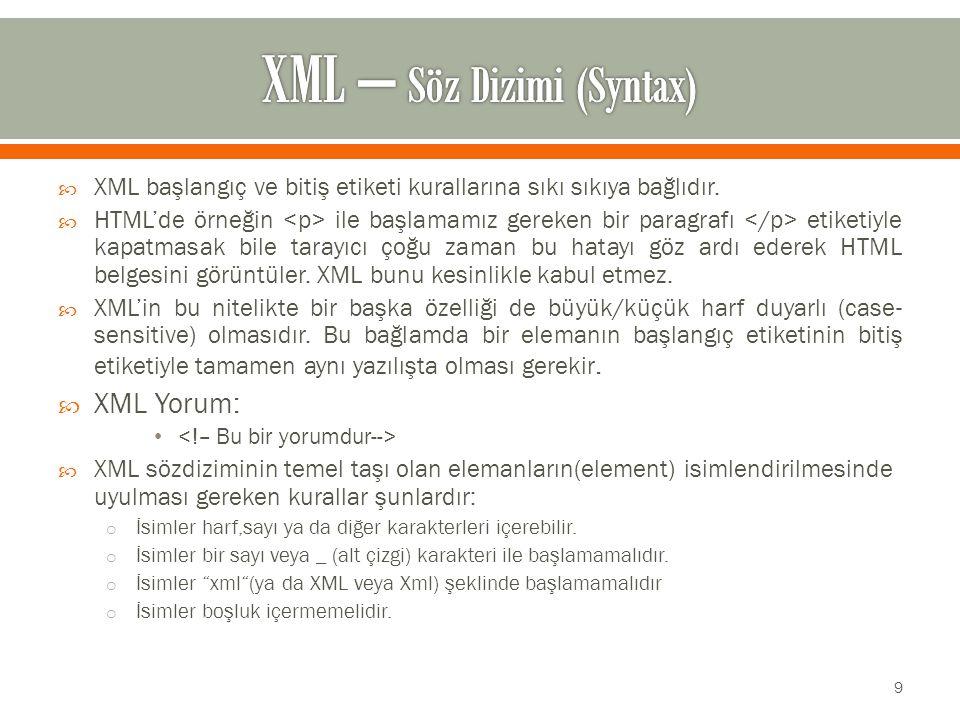  XML başlangıç ve bitiş etiketi kurallarına sıkı sıkıya bağlıdır.