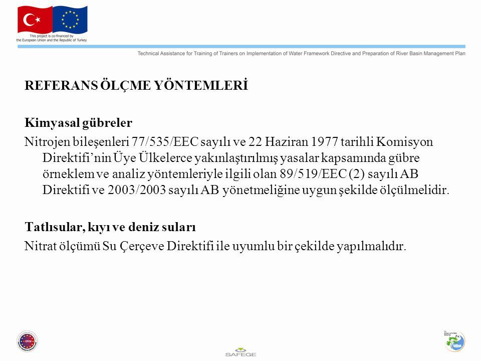 REFERANS ÖLÇME YÖNTEMLERİ Kimyasal gübreler Nitrojen bileşenleri 77/535/EEC sayılı ve 22 Haziran 1977 tarihli Komisyon Direktifi'nin Üye Ülkelerce yakınlaştırılmış yasalar kapsamında gübre örneklem ve analiz yöntemleriyle ilgili olan 89/519/EEC (2) sayılı AB Direktifi ve 2003/2003 sayılı AB yönetmeliğine uygun şekilde ölçülmelidir.