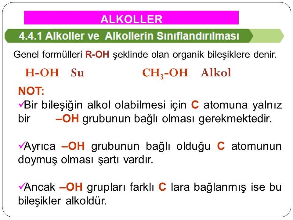 Genel formülleri R-OH şeklinde olan organik bileşiklere denir. H-OH Su CH 3 -OH Alkol NOT: Bir bileşiğin alkol olabilmesi için C atomuna yalnız bir –O