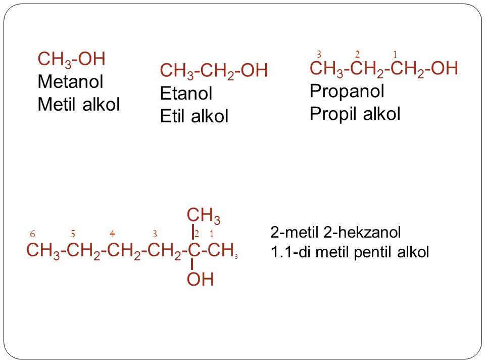 12 CH 3 -CH 2 -CH 2 -CH 2 -C-CH 3 OH CH 3 6543 2-metil 2-hekzanol 1.1-di metil pentil alkol CH 3 -OH Metanol Metil alkol CH 3 -CH 2 -OH Etanol Etil al